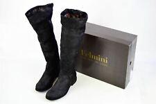 """FELMINI Black Metallic Leather Boot, UK 4 US 7 EU 37 Heel 1.25"""""""