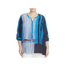 Nic + Zoe 3X Blue Silk Shirt