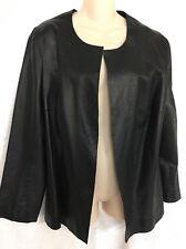 Mayda Cisneros Cardigan Black Perforated Thin Leather Size Xl