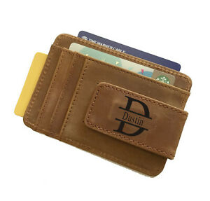Personalized Cowhide Leather Money Clip ID Wallet -Christmas Gift for Men, Him