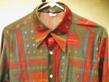 FATHERS DAY 70S VTG MEN MICHAEL LOW NYLON DISCO BIG COLLAR SPACE AGE SHIRT S M