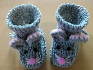 Babyschuhe Strickschuhe Mäuseschuhe gestrickt grau weiß Maus