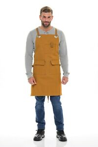 Canvas Work shop Tool Apron Men Women Heavy Duty Apron With Pockets & Crossback