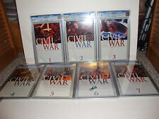 Civil War 1, 2, 3, 4, 5, 6 and 7  CGC SS 9.8 signed by Stan Lee Lot / Run / Set