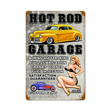 Hot Rod Garage Custom Paint US Car Pin Up Hannah Retro Blechschild Schild Groß