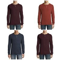 Arizona Men's Shirt Thermal  LS Henley S M XL or 2XL Wine Brown or Blue, New $32