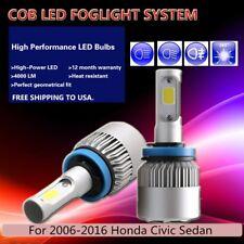 US 2Pcs White PHILIPS COB 16000LM Car LED Fog Light For 06-16 Honda Civic Sedan