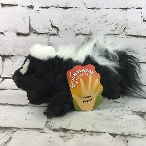 Folkmanis Skunk Plush Hand Puppet Movable Front Legs And Mouth Soft Animal Toy