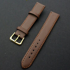 1PC Black Brown 16~22mm Leather Strap Steel Buckle Wrist Watch Band Soft