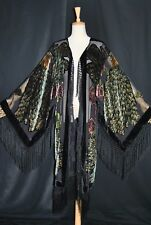Hippie Peacock Duster Kimono Opera Jacket Burnout Velvet Classic Black Stunning