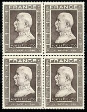 STAMP /  TIMBRE FRANCE NEUF N° 606 ** BLOC DE 4 TIMBRES PETAIN COTE + 18 €