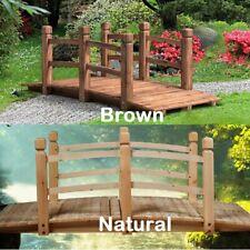 Solid Wood 5-Foot Bridge with Handrails Outdoor Yard Garden Pond Walkaway Decor