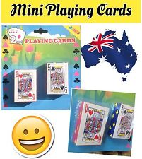 2 PACK MINI PLAYING CARDS. FREE POST. SYDNEY STOCK.STANDARD FORMAT PLAYING CARDS