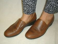 ECCO CORSE WOMEN'S BROWN LEATHER SLIP ON WEDGE LOAFER SHOES SIZE US 9M / EUR 40