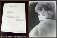 Lucille Ball I LOVE LUCY personal  letter from KATE & ALLIE 1988 + Photo COA