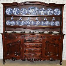 Antique Country French Hand Carved Walnut Vassilier Cupboard w/ Plate Rack C1890