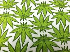 """New!!! Homegrown Marijuana Leaf Toss WHITE Cotton Fabric 54"""" Wide BY THE YARD"""