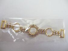 "3 1/4"" NIP Crystal Rhinestones Gold tone Metal Bikini Connectors  - 2 pieces"