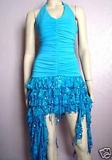 Sexy Bleu Turquoise scintillant paillettes à volants soirée Danse robe de soirée Taille 8-10