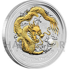 2012 AUSTRALIAN GOLD GILDED DRAGON – 1 OZ SILVER DRAGON GOLD GILDED EDITION