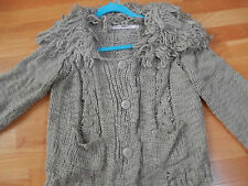 Chelsea & Violet Tan Button  Cardigan Sweater Medium Fringe