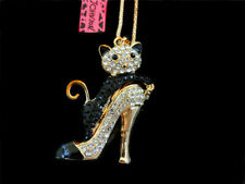 Betsey Johnson Gold Plated Enamel Cat In High Heel Necklace