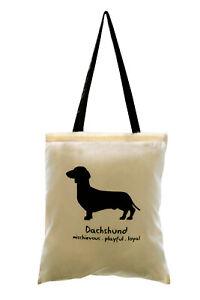 TOTE BAG: DACHSHUND, Cream (black handles) 100% cotton