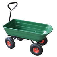 Garden Heavy Duty Utility 4 Wheel Trolley Cart Dump Wheelbarrow