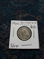 1960 SILVER SWITZERLAND 1/2 FRANCS COIN