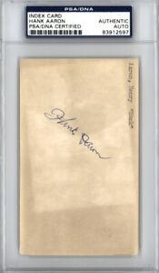 Hank Aaron Autographed 3x5 Index Card Braves Vintage 1950's PSA/DNA 83912597