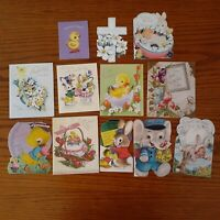 12pc USED Vintage Easter Greeting Cards 1950s Bunny Flowers Ducks Crafts Die Cut