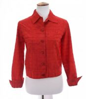 Coldwater Creek Womens Silk Embroidered Cropped Jacket Red Sz PS Petite Small