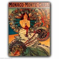 METAL SIGN PLAQUE Alfons Alphonse Mucha MONACO VINTAGE SHABBY CHIC FRENCH poster