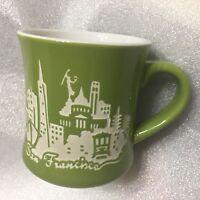 San Francisco Mercantile Ceramic Coffee Mug Green EUC (D's)