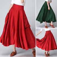 UK Womens Skirts Zipper Pockets Dress Maxi Oversize Vacation Plus Size Ladies
