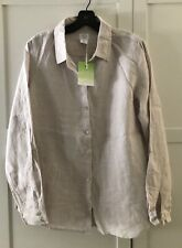 Sigrid Olsen Button Down and Button Back Blouse Shirt Top Linen Brown, Large NWT