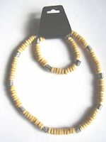 Light brown coco wood & patterned bead surf style choker necklace & bracelet set