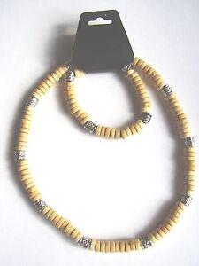 Light brown coco wood & patterned bead surf style choker necklace & bracelet set