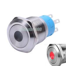 19mm Momentary Push Button Switch 1NO1NC Waterproof 12V Red Dot Illuminated LED