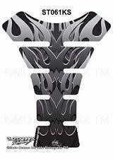 Tribal Flames Silver Motorcycle Tank Pad Tankpad Motografix 3D Gel Protector