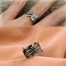 2PCS Fashion Women Men Boho Feather Style Ring Opening Finger Ring Jewelry Gift