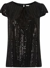 Black sequin evening top Size 16 Dorothy Perkins pleat detail £26 Brand New