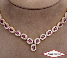 Estate Diamond 24.65ct Ruby 14K Gold Elegant Halo Link Necklace 60.5 Grams NR