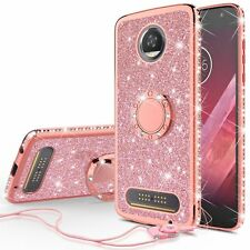 For Moto Z3 Play Bling Cute Phone Case for Girls with Ring Kickstand