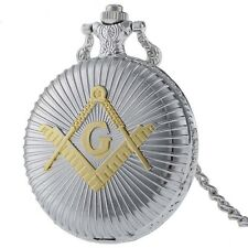 Pocket Watch Freemason Compass Spring Loaded Lid Stainless Steel + Necklace 80cm