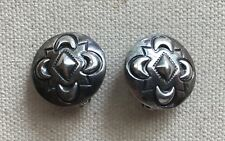 """Vintage Southwest Earring Concho Button Dome Sterling 3/4"""" Clip"""