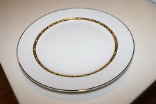 "4 Oneida Golden Foliage Fine Porcelain White Gold Tone DINNER PLATES 10.5""D"