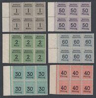 Six blocks of Six German Railway Parcel Fiscal Revenue Stamps Unused Condition
