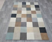INDIAN  HAND TUFTED CHECKED,WOOL,SILK, COTTON RUG,2.20 x 1.48M,GREY,BEIGE,MULTI