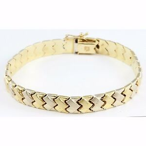 "Unisex 14k Two-Tone Gold White Yellow Tennis Bracelet 7.25"" Weave Design Jewelry"